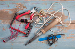 Elektrodelen en hulpmiddelen Stock Afbeelding