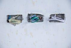 Elektrodoos voor stop contactdoos en bedrading Royalty-vrije Stock Afbeeldingen