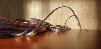 Elektrodraad dichte omhooggaand Draad voor elektriciteit stock fotografie