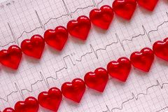 Elektrokardiograma i czerwieni serca Obraz Royalty Free