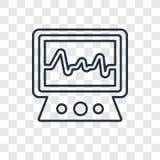 Elektrokardiograma pojęcia wektorowa liniowa ikona odizolowywająca na transpa ilustracja wektor