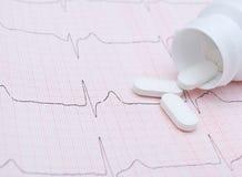 Elektrokardiogramgraf och preventivpillerar Arkivfoto