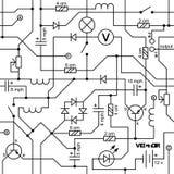 Elektrokring van radioapparatenweerstand, transistor, diode, condensator, inductor royalty-vrije illustratie
