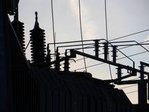 Elektromachtsnet in silhouet Stock Afbeeldingen