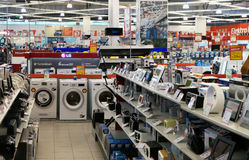 Elektromarkt-Elektronikladen in Litauen Stockbilder