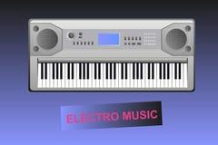 Elektromuziek - elektrische piano en tekst Stock Afbeeldingen