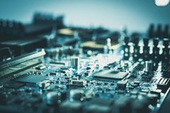 Elektronenrechenanlage-Hardware-Motherboard-PC-Technologiekonzept c lizenzfreie stockbilder