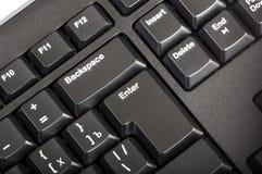 Elektroniczna kolekcja - czarna komputerowa klawiatura z kluczem wchodzić do Fotografia Stock
