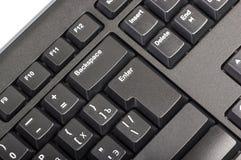 Elektroniczna kolekcja - czarna komputerowa klawiatura z kluczem wchodzić do Obraz Stock
