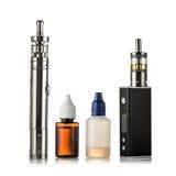 Elektroniczna papieros kolekcja odizolowywająca na bielu Fotografia Stock
