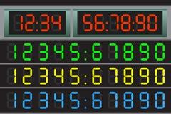 Elektroniczna tablica wyników z setem postacie Obraz Stock