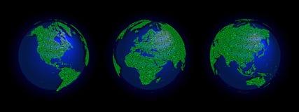 Elektroniczne światu 3 kule ziemskie Obraz Stock