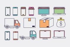 Elektronicznego handlu ustalone ikony ilustracja wektor