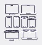 Elektronicznego handlu ustalone ikony ilustracji