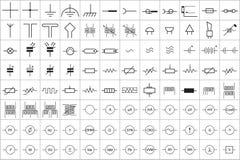 96 Elektroniczny i Elektryczny symbol v 1 ilustracja wektor