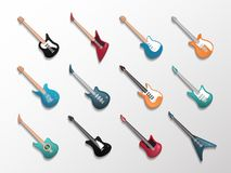 Elektroniczny i gitary akustyczne ikony set ilustracji