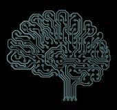 Elektroniczny mózg na czerni ilustracja wektor