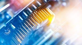 Elektroniczny obwód i kolorowy komputerowy mainboard Obrazy Stock