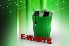 Elektroniczny odpady w zielonym kubeł na śmieci Zdjęcie Royalty Free
