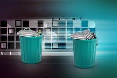 Elektroniczny odpady z klingerytu odpady w zielonym kubeł na śmieci Zdjęcia Royalty Free