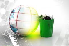 Elektroniczny odpady z kulą ziemską Obrazy Stock