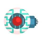 Elektroniczny oko Dla androidu, Ludzkiego organu replika, część Futurystyczne Mechaniczne I IT nauki serie kreskówek ikony Zdjęcie Royalty Free