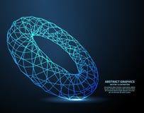 Elektroniczny pierścionek, technologii tło Sieć związki z punktami i liniami abstrakcjonistyczna wektorowa ilustracja ilustracja wektor