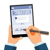 Elektroniczny podpis pastylki wektor Elektroniczny dokument, kontrakt Cyfrowy podpis Odosobniona płaska ilustracja ilustracja wektor