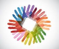 elektroniczny układ scalony nad różnorodność ręk okręgiem royalty ilustracja