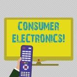 Elektronik för konsument för textteckenvisning Begreppsmässiga fotokonsumenter för dagliga och noncommercial avsikter räcker royaltyfri illustrationer