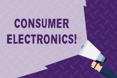 Elektronik för konsument för textteckenvisning Begreppsmässiga fotokonsumenter för dagliga och noncommercial avsikter räcker vektor illustrationer