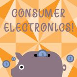 Elektronik för konsument för textteckenvisning Begreppsmässiga fotokonsumenter för färgrikt Piggy för dagliga och noncommer vektor illustrationer