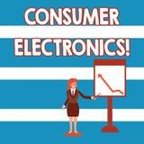 Elektronik f?r konsument f?r textteckenvisning Begreppsmässiga fotokonsumenter för daglig och noncommercial avsiktaffärskvinna vektor illustrationer