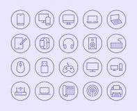 Elektronik, Technologie-Speicher-Linie Ikone Vektor-Illustrations-flache Art Eingeschlossene Ikonen als Fernsehen, Computer, Tele lizenzfreie abbildung