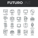 Elektronik und Geräte Futuro-Linie Ikonen eingestellt Stockfoto
