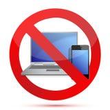 Elektronik verbot Zeichenabbildungauslegung stock abbildung