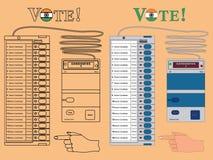 Elektronik-Wahlurne Indien färbte Nur Entwurf und mit schwarzem Entwurf stock abbildung