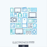 Elektronika abstracte achtergrond, geïntegreerde dunne lijnsymbolen vector illustratie