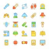 Elektronika Barwione Wektorowe ikony 3 Zdjęcia Stock