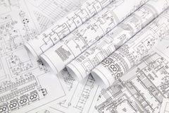 Elektronika i inżynieria Drukowani rysunki elektryczni obwody obrazy royalty free