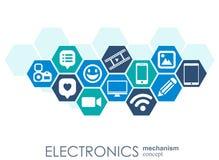 Elektronika mechanizm Abstrakcjonistyczny tło z związanymi przekładniami i zintegrowanymi płaskimi ikonami Związani symbole dla l Obrazy Royalty Free