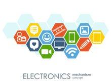 Elektronika mechanizm Abstrakcjonistyczny tło z związanymi przekładniami i zintegrowanymi płaskimi ikonami Związani symbole dla l Obraz Stock