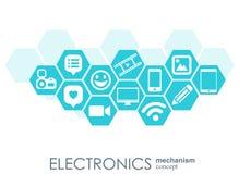 Elektronika mechanizm Abstrakcjonistyczny tło z związanymi przekładniami i zintegrowanymi płaskimi ikonami Związani symbole dla l Obrazy Stock