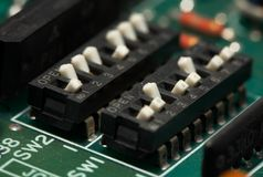 Elektronika - micro- schakelaars Stock Fotografie