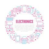 Elektronika okręgu plakat z mieszkanie linii ikonami Wifi połączenie z internetem technologii znaki Komputer, smartphone, laptop ilustracji