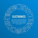 Elektronika okręgu plakat z mieszkanie linii ikonami Wifi połączenie z internetem technologii znaki Komputer, smartphone, laptop royalty ilustracja