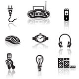 Elektroniki ikony set Czarny znak na białym tle Fotografia Stock