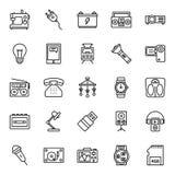 Elektroniki wyposażenie Odizolowywał Wektorowe ikony Ustawiać które mogą łatwo Modyfikują lub Redagować royalty ilustracja