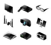 Elektronikikone eingestellt - Fernsehapparat und Audio Lizenzfreie Stockbilder