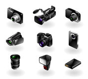 Elektronikikone eingestellt - Kameras und Kamerarecorder Lizenzfreie Stockfotos